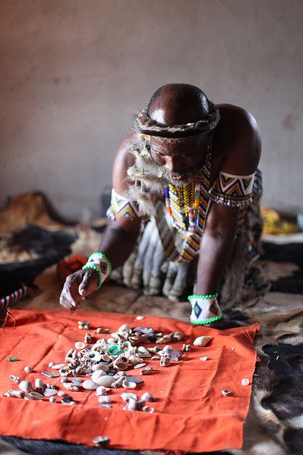 Zulu Medicine Man Reading Bones